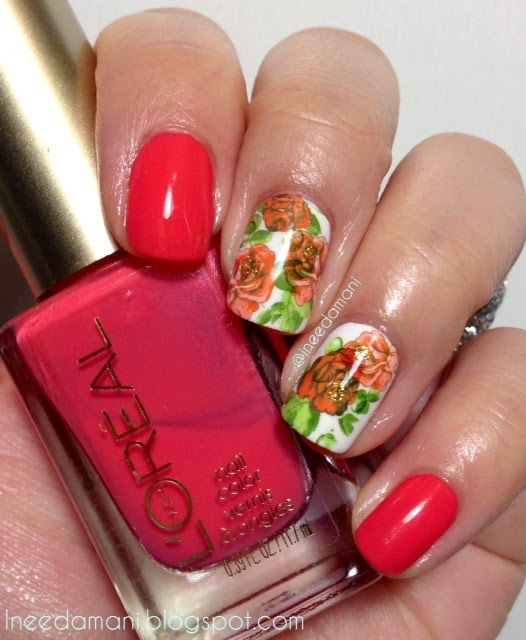 loreal tangerine crush rose water decal nails
