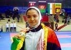 سمیه غلامی عضو تیم ملی تکواندوی برنده مدال طلا درمسابقات جنوب آسیا۱۳۹۴