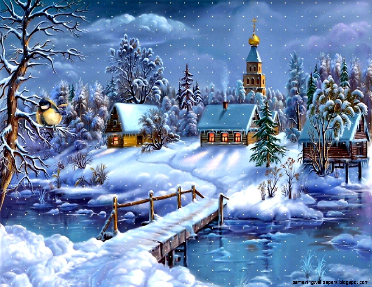 Snowy Christmas Night on Holiday Images  HD Wallpapers