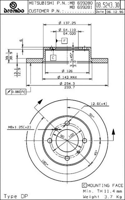 Brake Disc Proton PERSONA 300 / 400, WIRA 1.3 (08.5243.30)