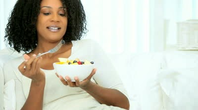 Black woman eating