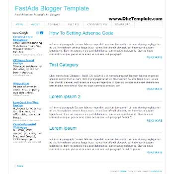 FastAds blogger template. blogger template for adsense optimized