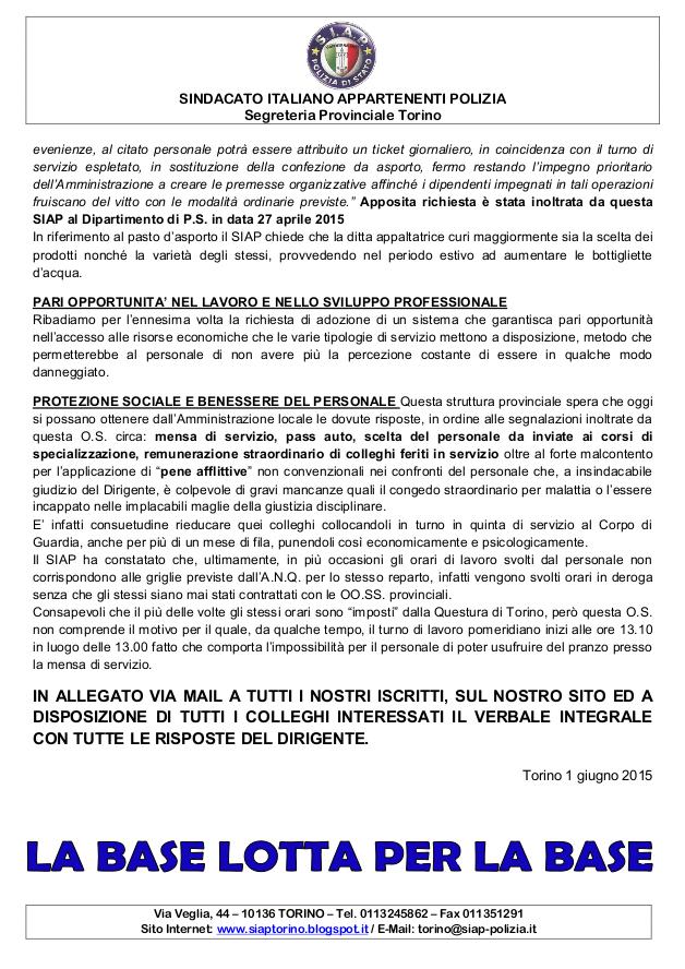 S I A P Segreteria Provinciale Torino Trasparenza E