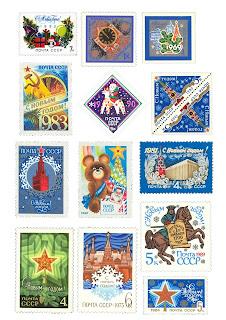 советские марки, советские новогодние марки, новогодние марки