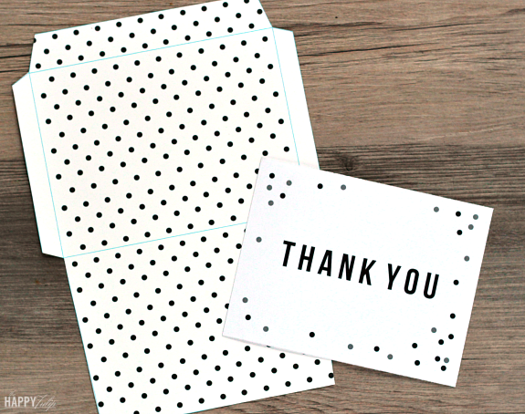 free printable thank you card and envelope — confetti dots │ thehappytulip.com