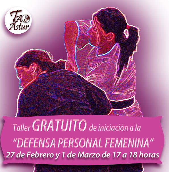 Taller de Iniciación a la defensa personal femenina el 27 de febrero en TAOASTUR