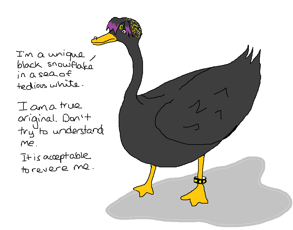 """Scribbled drawing of a black swan dressed in a gothic way.  It is saying: """"I'm a unique black snowflake in a sea of tedious white.  I am a true original.  Don't try to understand me.  It is acceptable to revere me."""""""