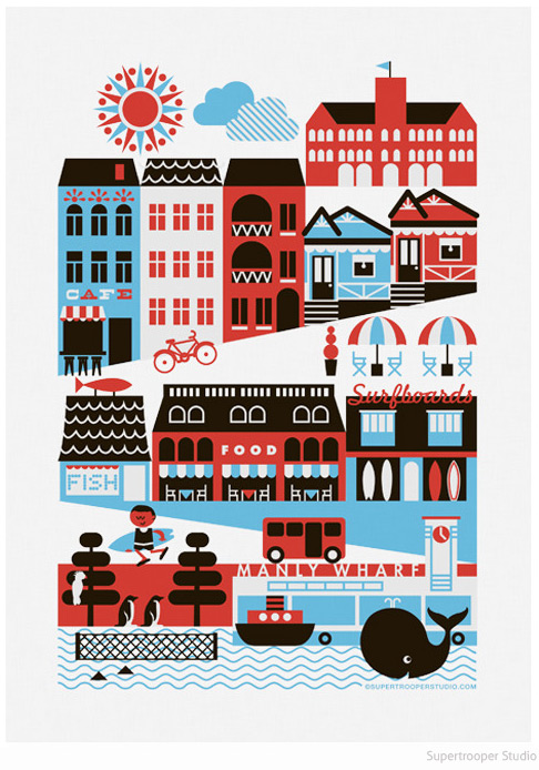 Manly poster Scandi graphic