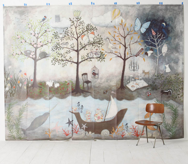 Madeleine 39 s view mural mural on the wall for Anthropologie mural wallpaper