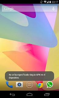 No se ha especificado ningún APN en el dispositivo Android
