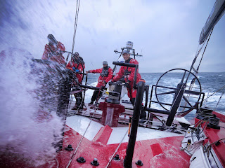 Daryl Wislang driving at high speed in the Southern Ocean onboard CAMPER (Credit: Hamish Hooper/CAMPER ETNZ/Volvo Ocean Race)