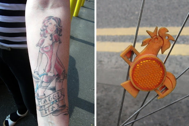Manchester Cycle Chic tattoo and Kellog's reflector