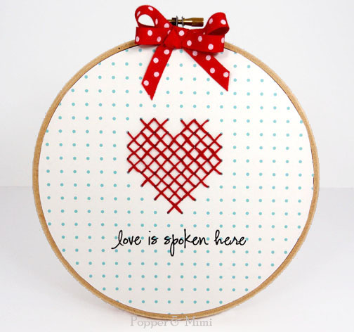 Cross-stitched Heart Embroidery Hoop Decor | popperandmimi.com