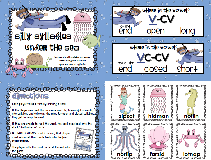 Worksheets Open And Closed Syllables Worksheets 2nd Grade sailing through 1st grade silly syllables under the sea over weekend i created a nonsense word game designed to practice decoding using rules for open and close