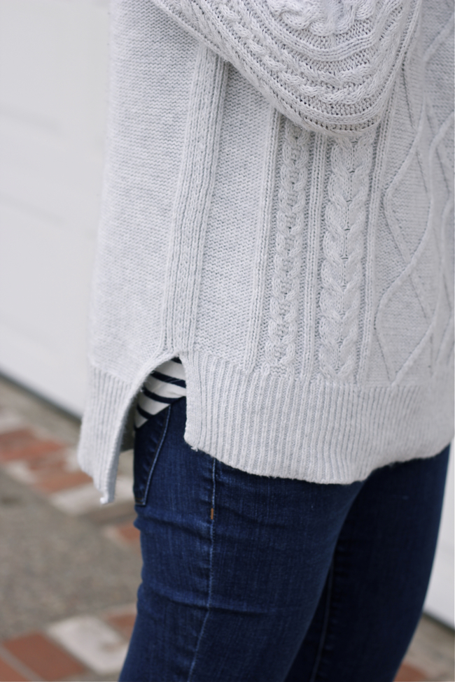 grey, sweater, knit, cable,