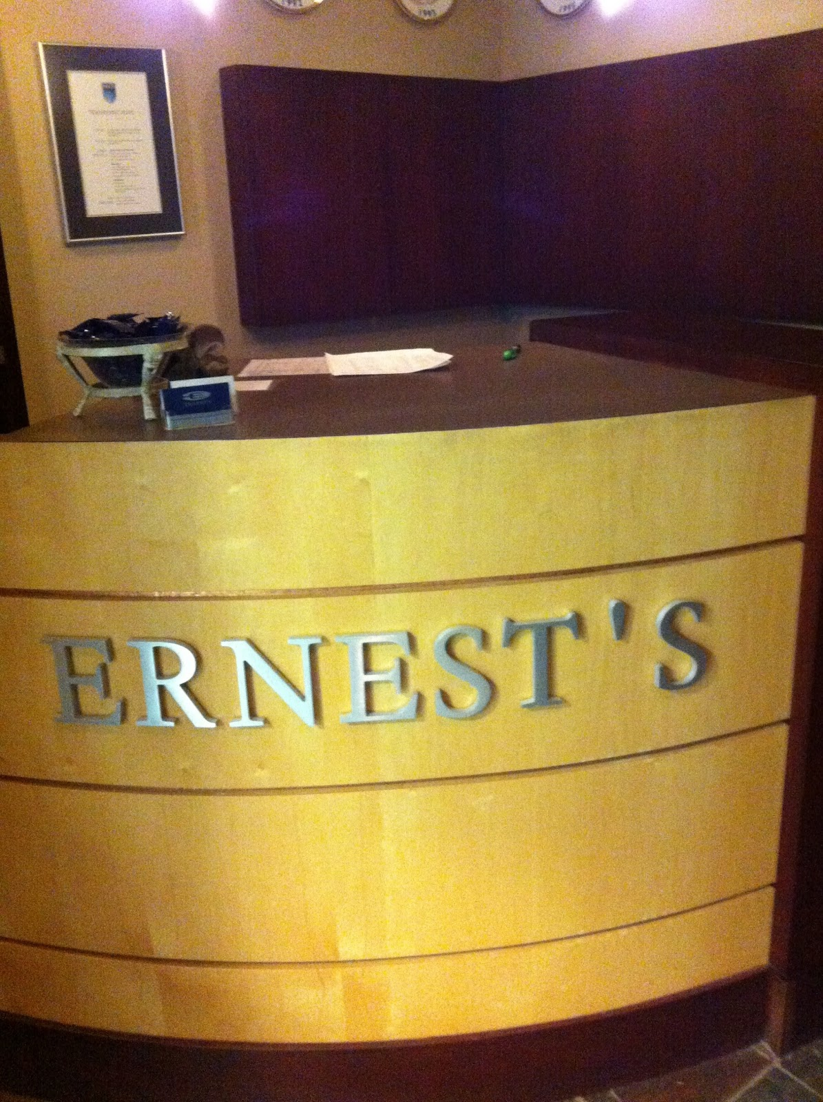 Back In August We Had The Truly Exciting Opportunity To Place A Reservation For Dinner Buffet At Ernests Is Dining Room Located Within