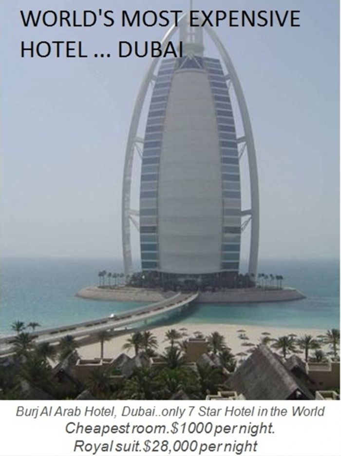 Burj Al Arab Hotel in Dubai is the world's most expensive hotel. It's the only 7 star hotel in the world. The cheapest room cost $1000 per night and the Royal Suit cost $28000 per night, world records, most expensive hotel