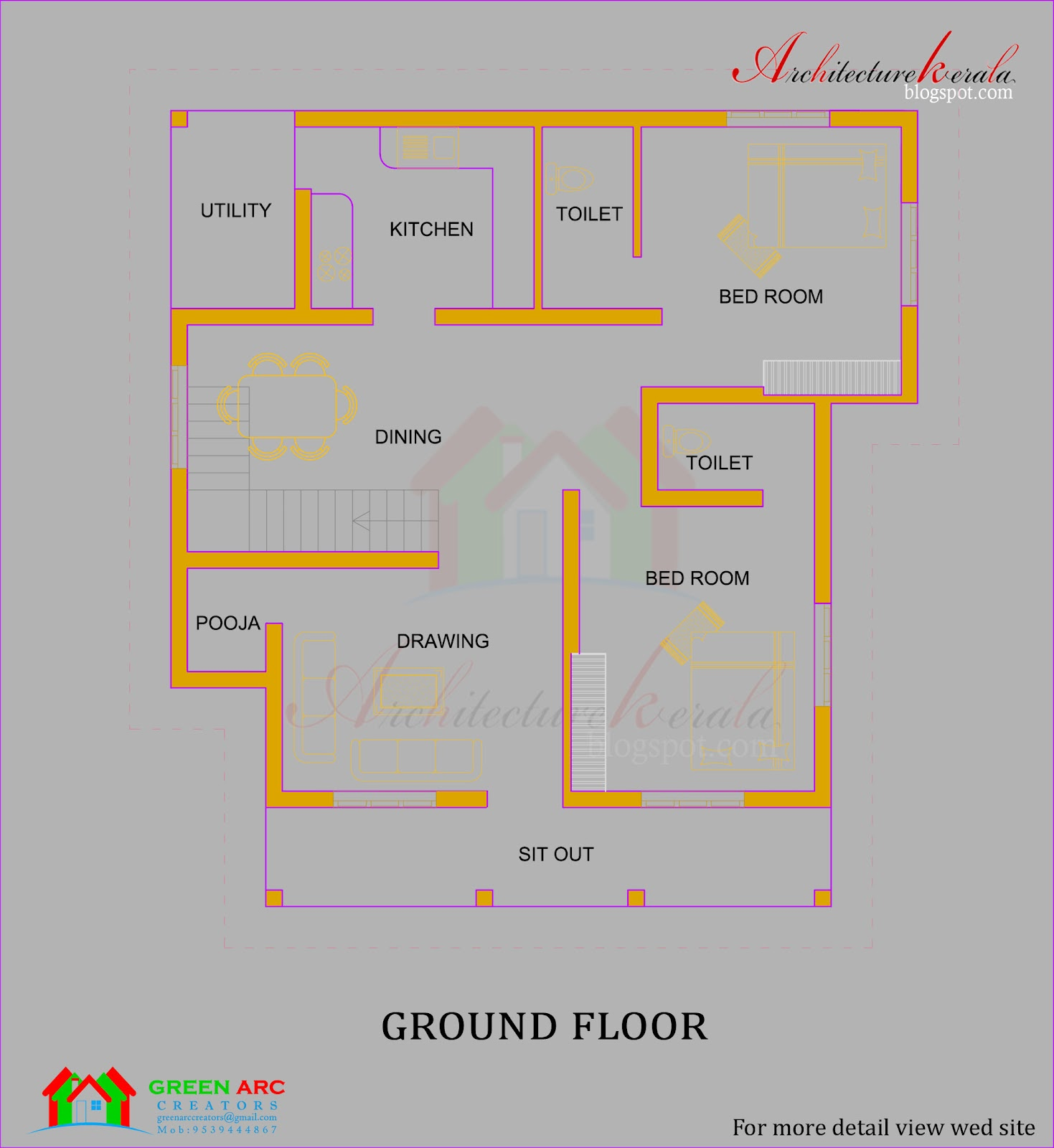 Architecture kerala traditional style kerala house plan for Kerala two bedroom house plans