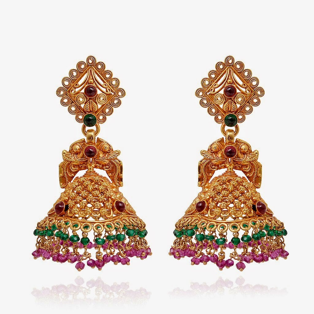 Elegant Ethnic Indian Bollywood Gold Plated Earrings Women Traditional Jewelry