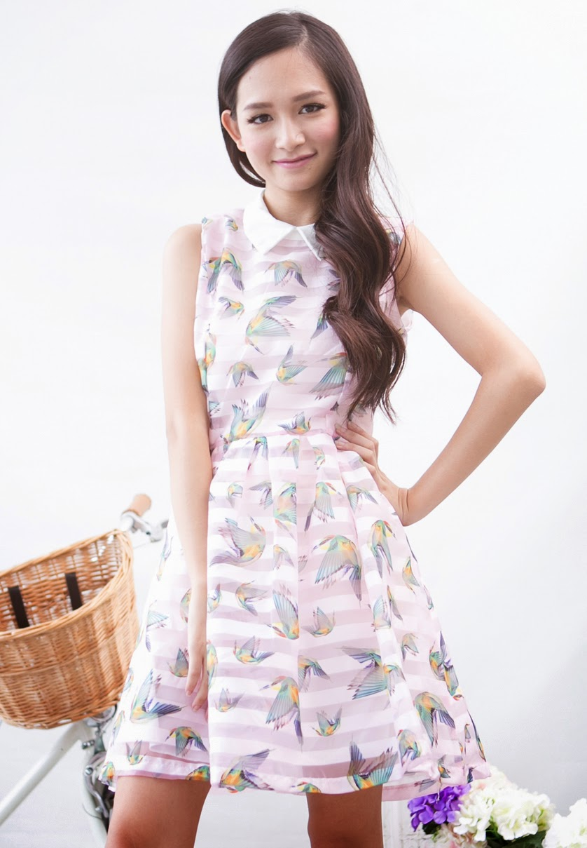 Fashion Clicks Just Click Your Way To Wednesday Shopping Magnolia Criss Cross Stripe Camisole Wanita Putih Bird Print Mesh Striped Dress