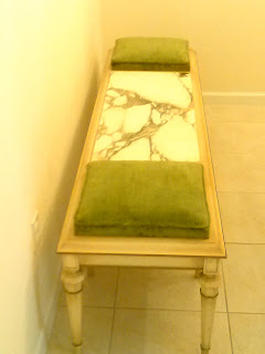 Vintage mid-century wood bench with marble center