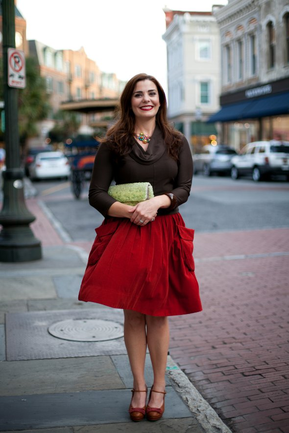 Anthropolgie charleston opening, red skirt, brown cowl neck top, king street, southern street style, southern style, women in the south