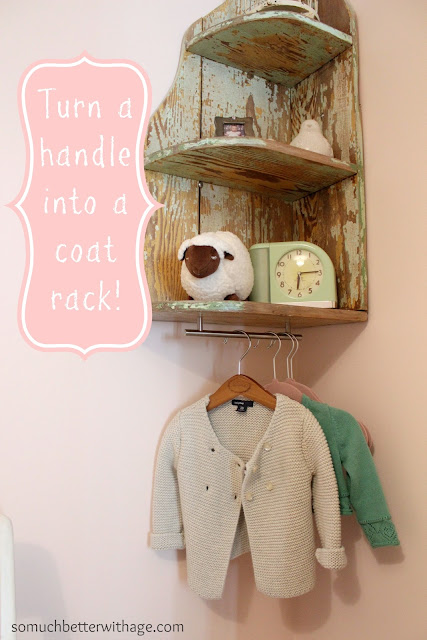 turn a handle into a coat rack  www.somuchbetterwithage.com