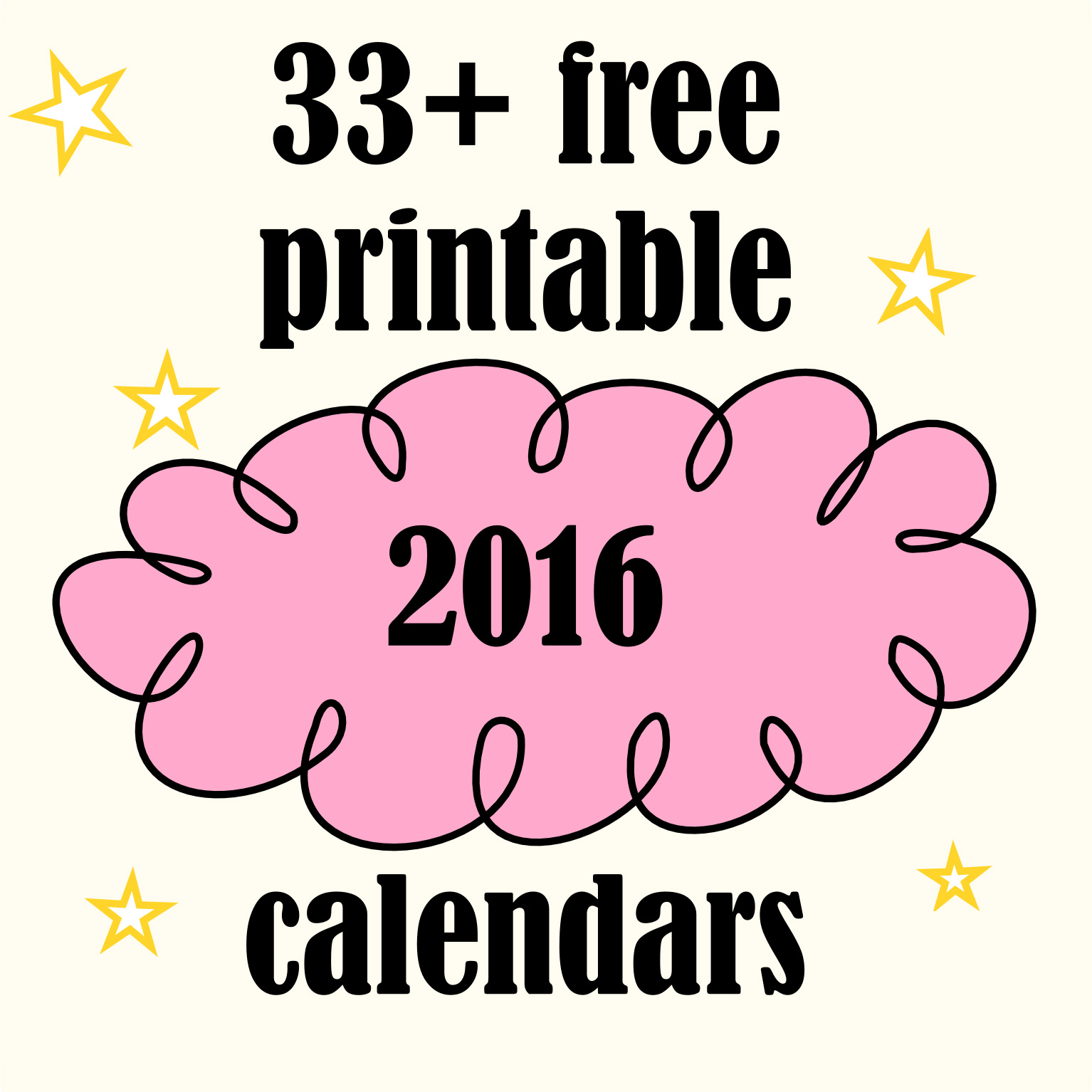 Over 33 free printable 2016 calendars - Kalender 2016 - freebie round ...
