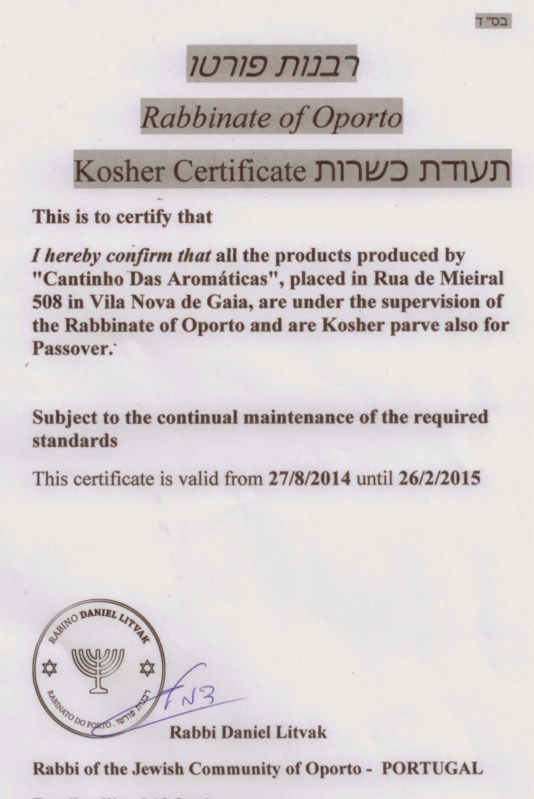 Certificado Kosher 2014-2015