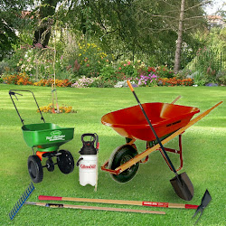 lawn spreader, pump sprayer, bow tine rake, thatch rake, shovels, hoes, wheelbarrow