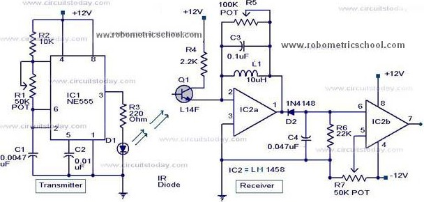 moving sensor    detector schematic diagram using ic ne555