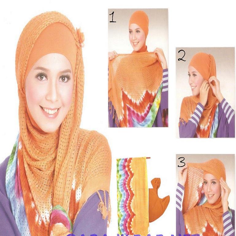 Tutorial dan gambar cara memakai jilbab hijab modern gaul model pelangi