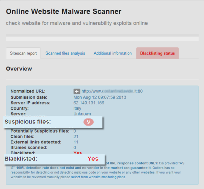 Quttera | online website malware scanner.