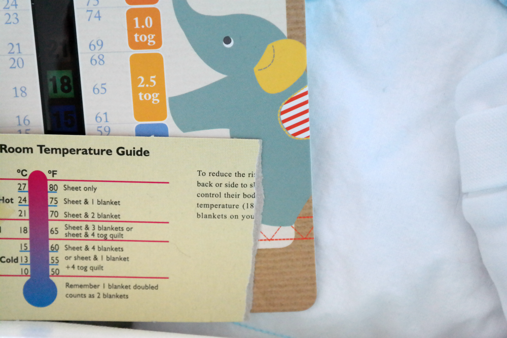 Thermometer and guide to baby bedding