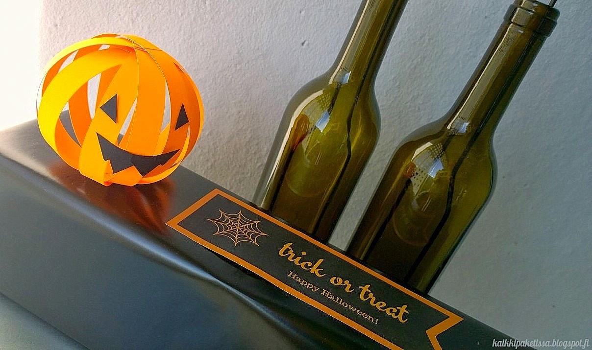 Halloween lahjapaketti paketointi kurpitsa trick or treat etiketti