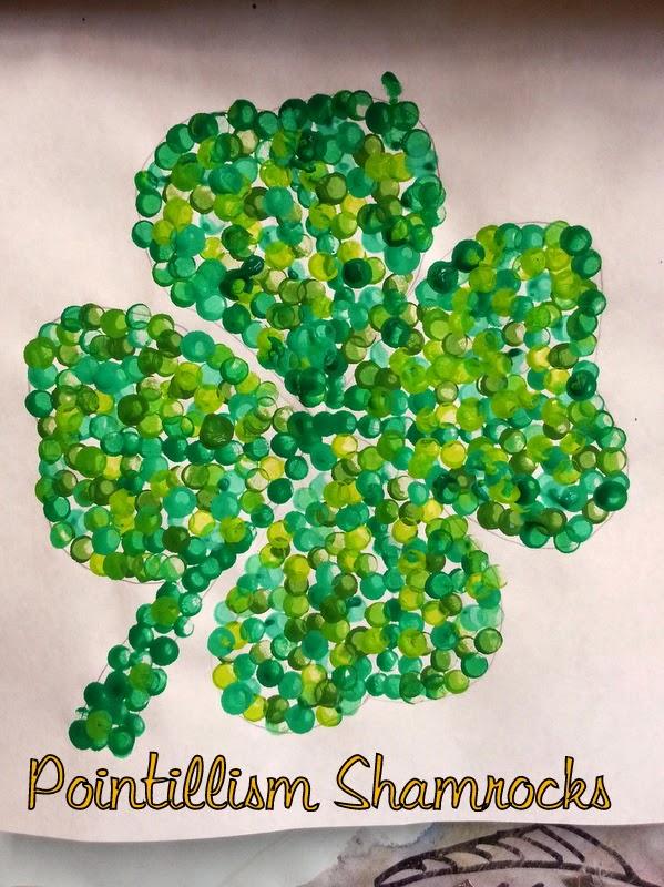 pointillism art for kids, irish crafts for kids, shamrock crafts for kids, clover crafts for kids