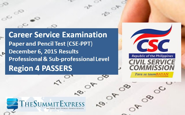 Region 4 Passers: December 2015 Civil service exam (CSE-PPT) results