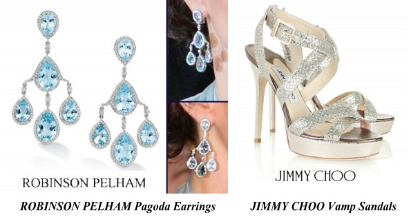 The Duchess Of Cambridge's ROBINSON PELHAM Pagoda Earrings And JIMMY CHOO Vamp Sandals