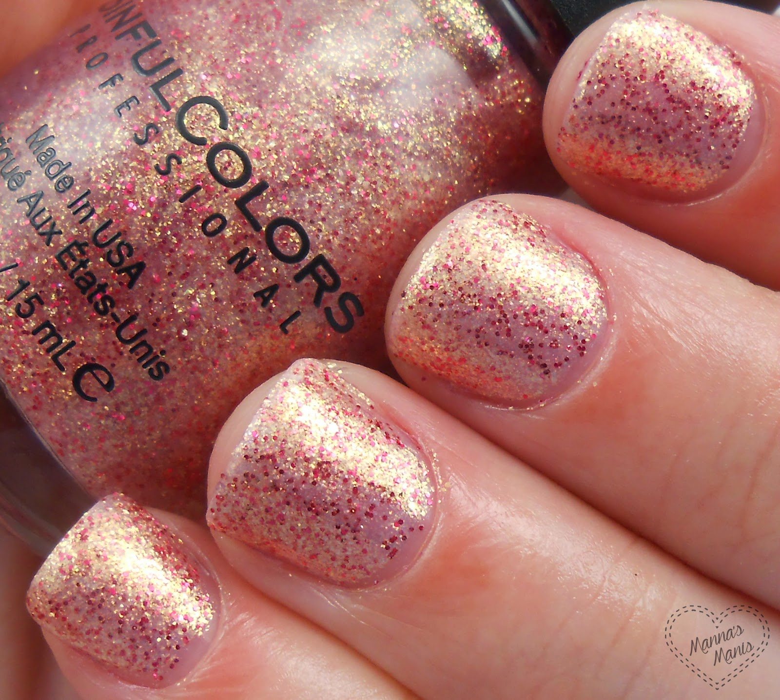 sinful colors glided, a shimmery gold and red nail polish