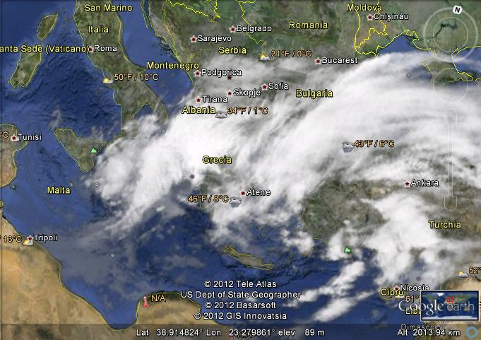 Mappa con livello nubi selezionato