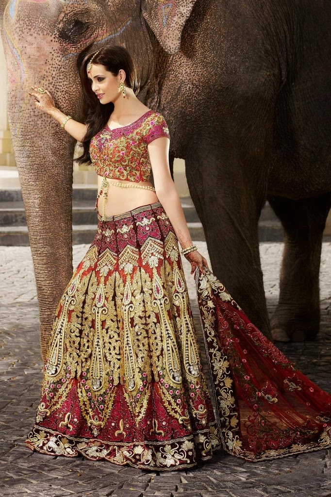 Latest Fashion Trends: Indian Style Bridal Lehenga Choli Designs For Women 2015