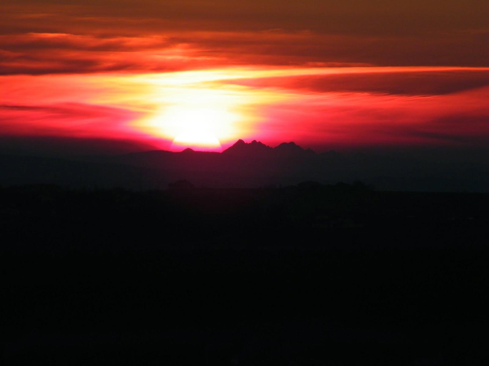 Tatry z Rzeszowa, widok, zachód słońca za Tatrami, Magdalenka, Tatry z Magdalenki, pierwsza obserwacja