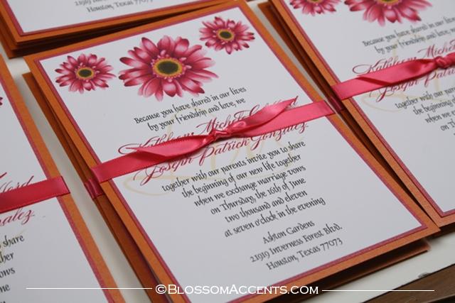 Wedding Blossoms Gerbera Daisy Wedding Invitations Pink