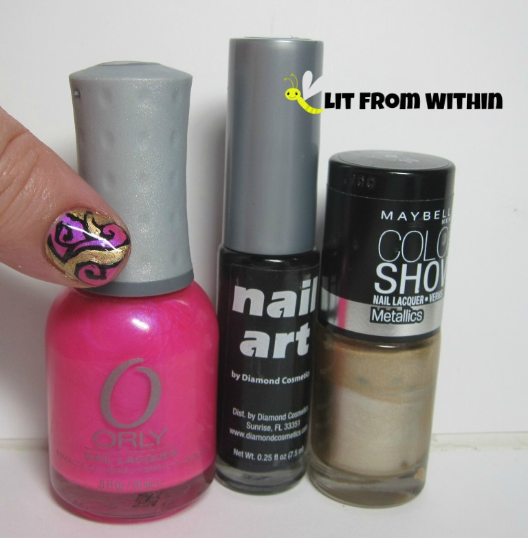 Bottle shot:  Orly Oh Cabana Boy, black nail art striper, and Maybelline Bold Gold.