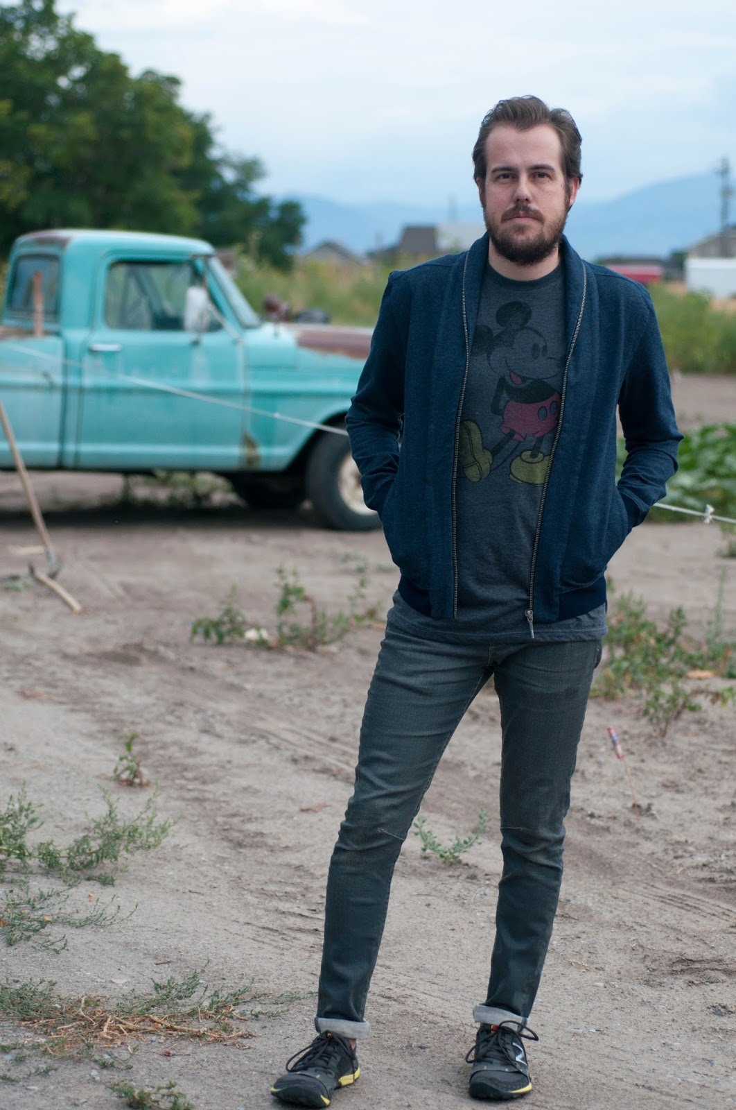 mens style blog, mens fashion blog, ootd, all saints cigarette jeans, new balance running shoes, mickey mouse tee
