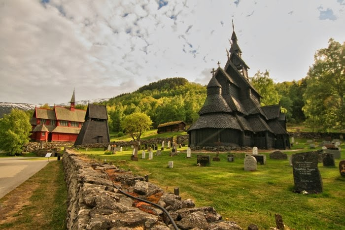 800 year old stave church in Borgund, Norway