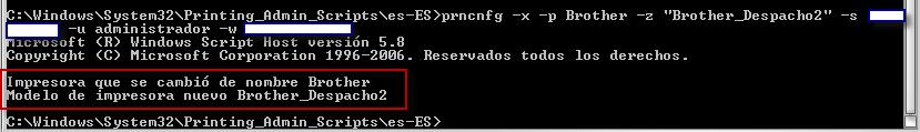 Ejemplo prncng cambiar nombre impresora instalada en un equipo remoto