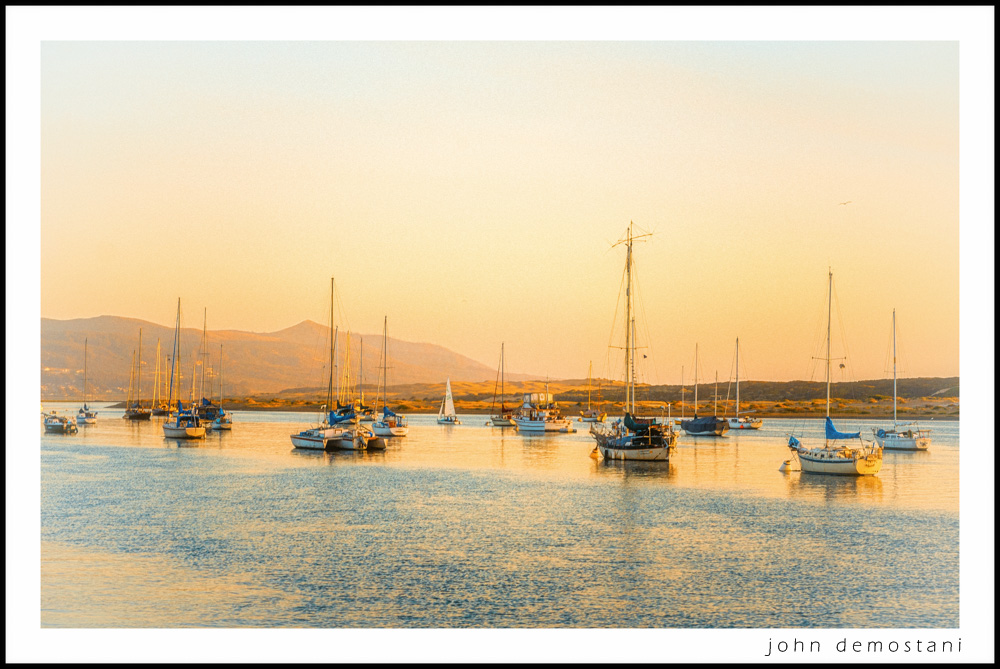 Scene of Sail Boats at Morrow Bay at sunset , The Golden State, California Gold, , photography, nature, landscape photography, Impressionist
