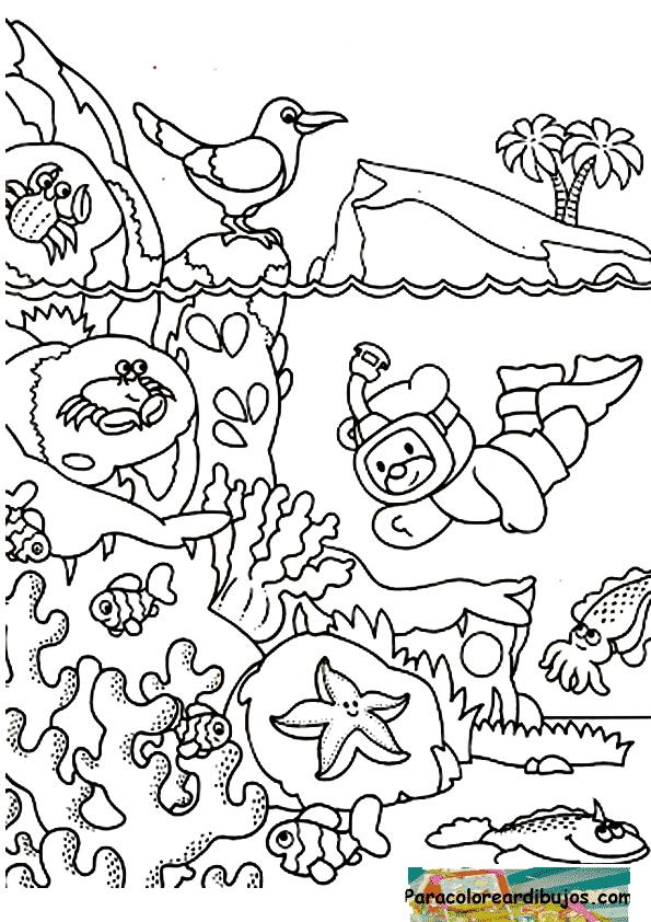 Dibujos Animados Del Mar Para Colorear Fondo Del Mar Para Colorear