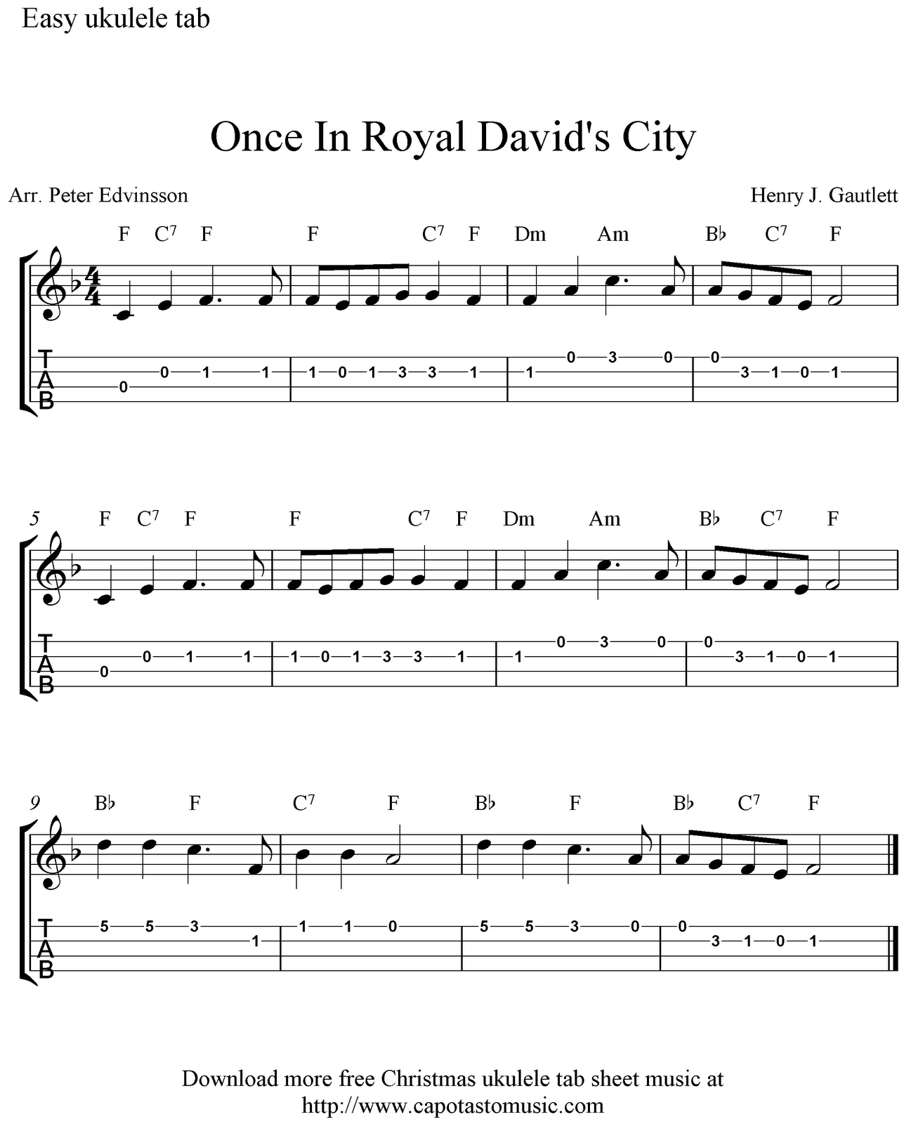 Free Christmas ukulele tab sheet music, Once In Royal Davidu0026#39;s City